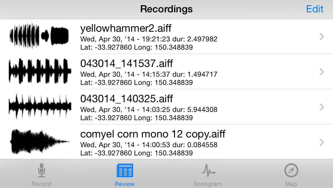 Sonocord sonogram track listing