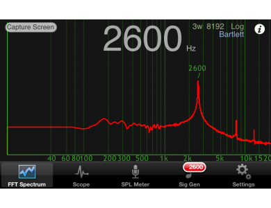Real time spectrum analyser audio
